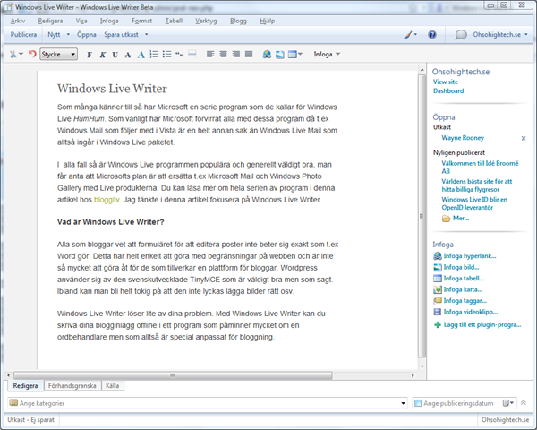 Windows Live Writer 1