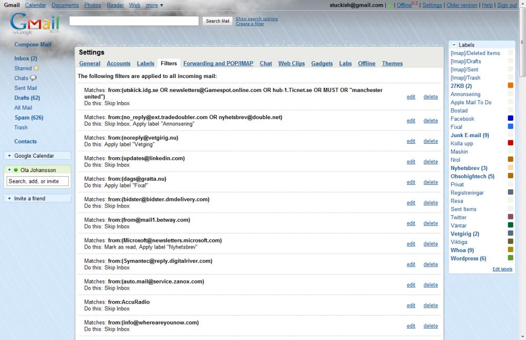 gmail filters 1024x662 Gmail: Mycket mer än en Webbmail
