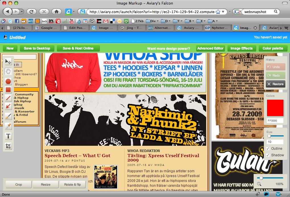 Aviary Skärmdump på hel webbsida